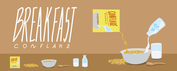 Healthy Breakfast-Cornflakes and Milk Splash Vector