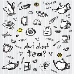 tea set elements. hand-drawn illustration
