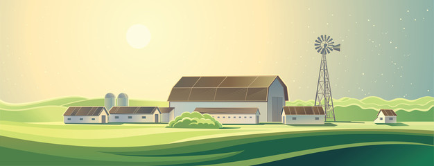 Ranch. Summer rural farm landscape.