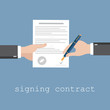 Vector agreement icon - hand signing contract on white paper - 77215136