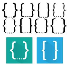 Curly bracket icon set