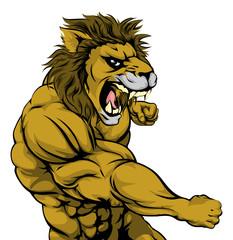 Punching lion mascot