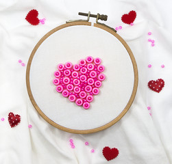 Valentine Hearts on embroidery hoop