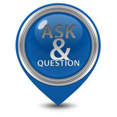 Q&A  pointer icon on white background