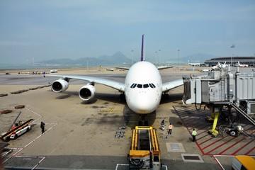 Airplanes parked at Hong Kong International airport.