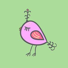 Abstract mint bird. Vector illustration