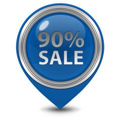 Sale ninety percent pointer icon on white background