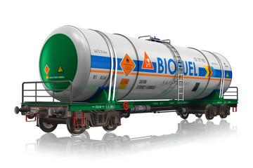 Railway tankcar with biofuel