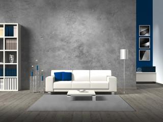Modernes Wohnzimmer mit Betonwand