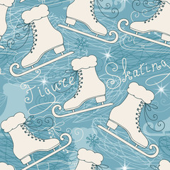 Seamless pattern with skates