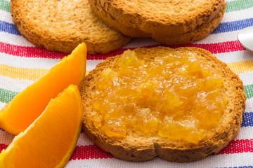 Toast with orange marmalade