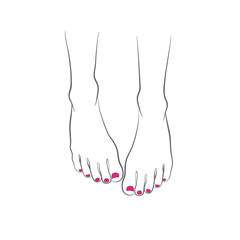 Female feet with red pedicure, chiropody, vector