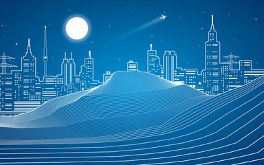 Lines, sand dunes, mountains, desert, night city