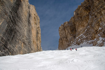 Skiers in Sass Pordoi slope, Val di Fassa