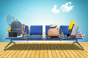Vacation, seats at the airport with bags