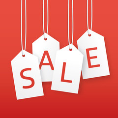 Vector sale illustration. Paper hanging price tags.