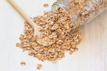 Oatmeal on a vintage wooden background