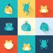 Frog characters flat