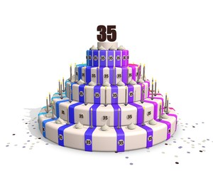 Happy big birthday cake with chocolate number 35 on top
