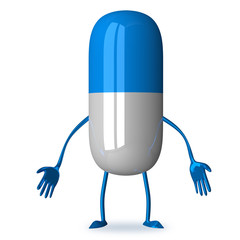 White and blue discouraged pill character