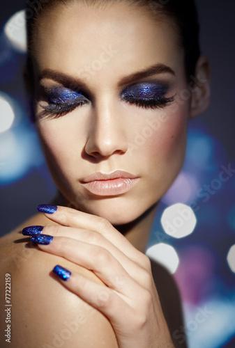 Blue Glitter плакат