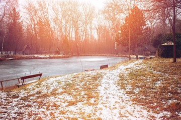 Frozen lake and snowy lake shore
