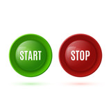 Two glossy buttons, start and stop poster