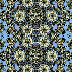 Ornamental ornate tribal style seamless wallpaper in blue color