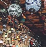 traditional lantern on turkish bazar. boho style poster