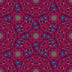 Vintage purple seamless pattern with filigree circles