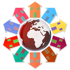 Global village concept - Ten small houses around the Earth