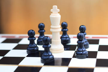 King and pawns closeup