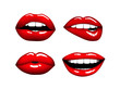 Set of Woman hot red lips - 77227197