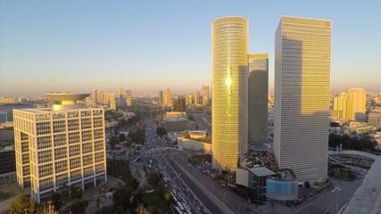 Time lapse of Tel Aviv skyline day to night