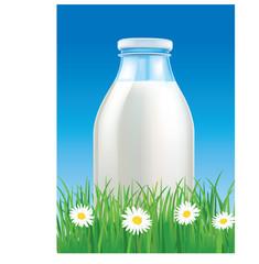 milk in glass bottle on grass field