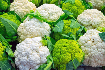 Fresh cauliflower for sale at a market