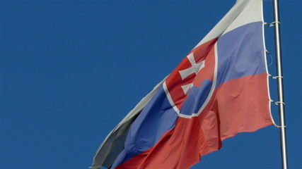 Slovakian flag waving in the wind