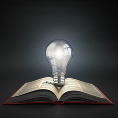 Luminous light bulb on open book. Idea or creativity concept. Ed