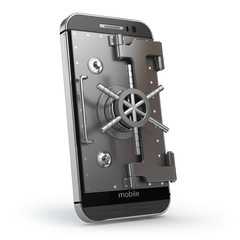 Mobile security concept. Smartphone or cellphone with vault or s