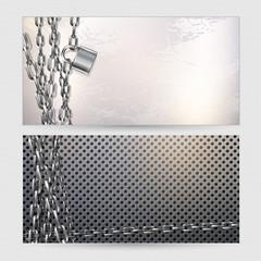Two horizontal banners, metal chain and padlock on a metal wall