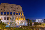 Colosseum in Rome at Christmas during sunset, Italy