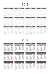 calendar template of year 2015 and 2016