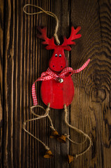 Wooden Deer Hanging Decor with Small Bells
