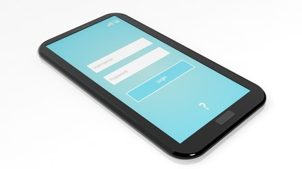 Smartphone with Login screen isolated on white
