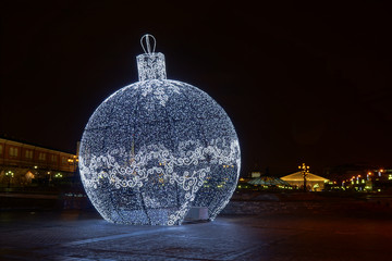 Giant LED lights ball in Moscow