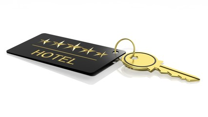 Hotel key with label isolated on white