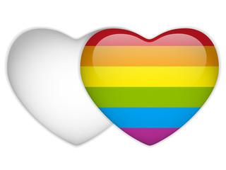 Gay Flag Heart Striped Sticker