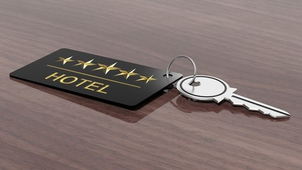Hotel key with label on wooden desk surface