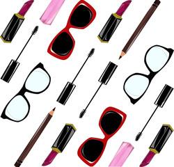 Background set di cosmetici e ochhiali