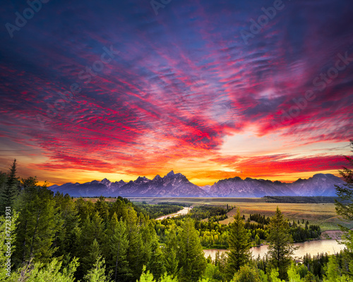 Summer Sunset at Snake River Overlook - 77233931